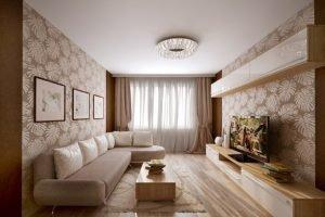 Гостиная 15 кв.м. - натяжные потолки с установкой люстры