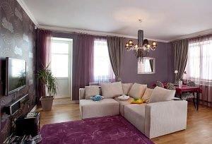 Гостиная 18 кв.м. - натяжные потолки с установкой люстры 5240 руб.