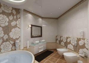 Ванная 5 кв.м. - натяжные потолки работа по кафелю,установка 1 люстры,2 точечных светильников