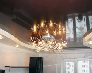 Двухуровневые натяжные потолки в зале (2)