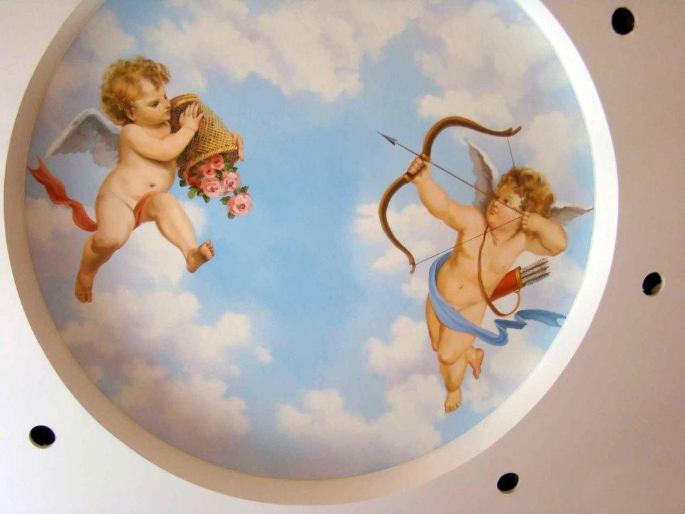 фотопечать на натяжной потолок с ангелочками удивительные, познавательные